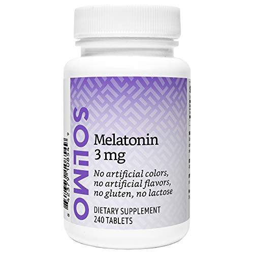 Amazon Brand - Solimo Melatonin 3mg, 240 Tablets, Eight Month Supply, Helps with occasional sleeplessness