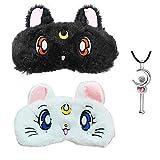 2Pcs Sailor Moon Warrior Luna Cat Plush Eye Mask Anime Glossy Eye Shade Sleep Goggles Cartoon Shading Cat Sleeping Eye Mask Necklace