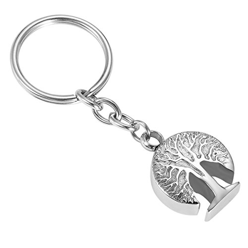 Housweety Cremation Jewellery Stainless Steel Tree of Life Charm Urn Key Ring Keychain -Memorial Ash Keepsake