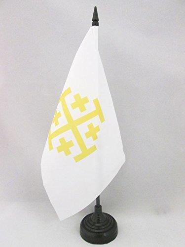 AZ FLAG TISCHFLAGGE KÖNIGREICH Jerusalem 21x14cm - KREUZFAHRERSTAATEN TISCHFAHNE 14 x 21 cm - flaggen