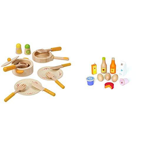 Hape Gourmet Play Kitchen Starter Accessories Wooden Play Set & Healthy Basics Kid's Wooden Play Kitchen Accessories Food Set