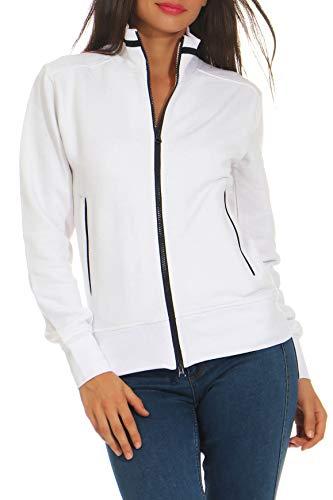Happy Clothing Damen Sweatjacke mit Reißverschluss und Kragen ohne Kapuze im sportlichen Design, Elegante Jacke aus Baumwolle für Sport und Freizeit, Größe:M, Farbe:Weiß
