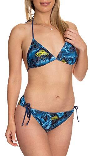 Official Corona Two Piece Side Tie Padded Triangle Top Swimsuit Bikini Set (Corona Blue Palm, Large)