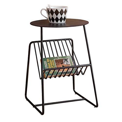 Jcnfa-bijzettafel bijzettafel, messing ronde zijtafel, met tijdschrifthouder, bank bijzettafel, opslag metalen schuine mand 2 kleuren