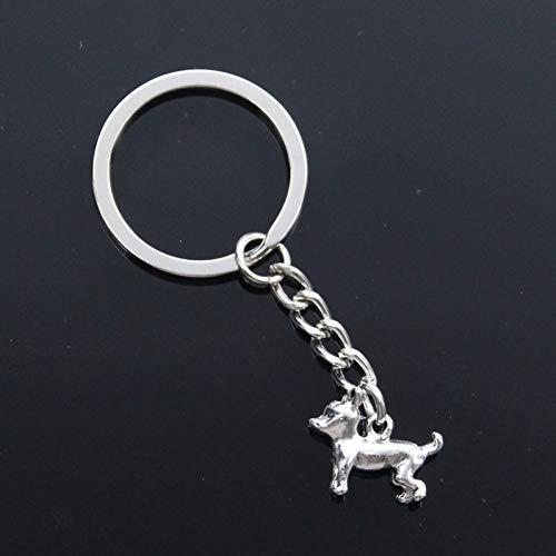 N/ A ZHTTCD mode mannen 30mm sleutelhanger DIY metalen ketting vintage mooie hond 18x14mm zilveren hanger Gift