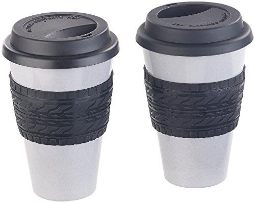 Semptec Urban Survival Technology Bambusbecher: 2er-Set Coffee-to-go-Becher, Bambus-Faser, Deckel, Hitzeschutz (Mug)