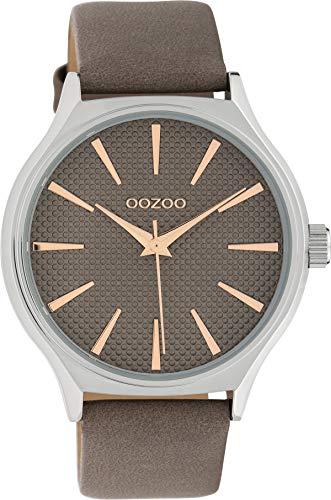 Oozoo Damenuhr mit Design Zifferblatt und Lederband 42 MM Taupe/Taupe C10108