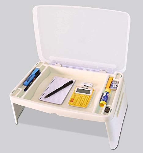 Jukkre Lapdesk , Portable Laptop Desk, Breakfast, Bed Table, Serving Tray with Extra Storage Space For Books, Files, Docs, School Supplies and More, for Kids, Adults, White Lapdesk