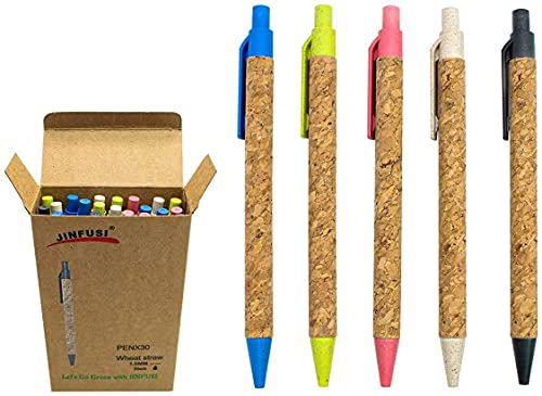 Wheat Straw Pens(30 Pack),Eco Friendly Cork and Recycled Ballpoint...