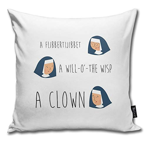 BwwoBing Throw Pillow Cover Case for Bedroom Couch Sofa Home Decor Vintage Sound of Music Nuns Pattern Square 18x18 Inches 45x45cm