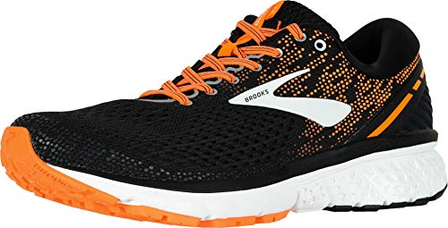 Brooks Mens Ghost 11 Running Shoe - Black/Silver/Orange - D - 13.0