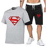 DREAMING-Camiseta casual de verano para hombre Top + Shorts Set Algodón Deportes Conjunto de pantalones cortos casuales cómodos de manga corta L