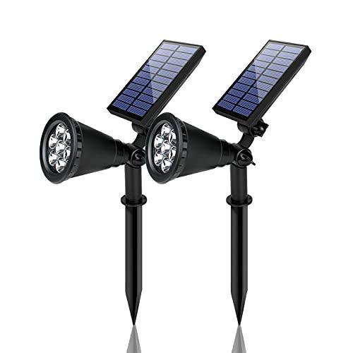 Eofiti 2 Piezas Foco Solar Exterior Jardín, Impermeable IP65 Luces Solares LED Exterior, 8 Color Cambio, 2 Modos de Iluminación, ángulo de 180° Ajustable, Luz Solar de Entrada, Camino, Césped, Terraza
