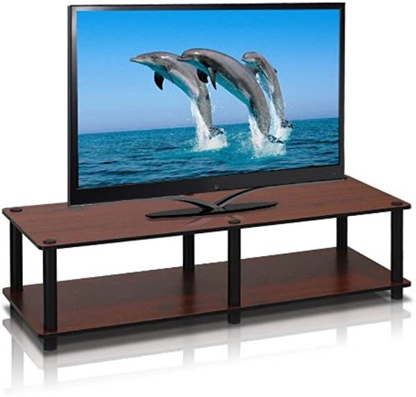 Furinno 11175DC BK BK Just No Tools Dark Cherry Wide Television Stand With Black Tube