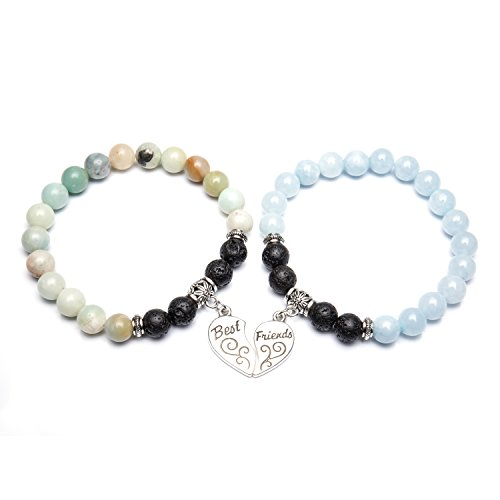 Bivei Best Friends Bracelets for 2 - Gemstone Round Beads Lava Stone Diffuser Heart Charm Friendship Bracelets(Amazonite+Coloring Aquamarine)