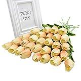 Fleur Artificielle 30 Pcs Tulipe Fleur Artificielle Blanc Rouge Jaune PU Real Touch Faux Tulipes pour La Décoration Intérieure Fausses Fleurs Bouquet De Mariage Décor Z16
