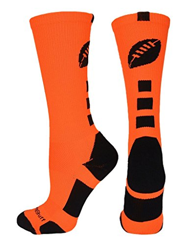 MadSportsStuff Football Logo Crew Socks (Neon Orange/Black, Small)