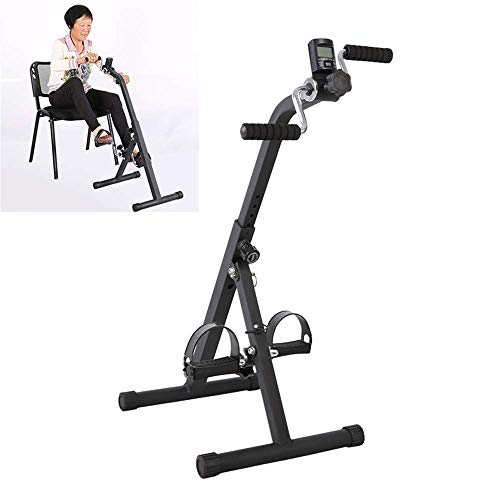 XBSLJ Mini Exercise Bike Pedal Exerciser Medical Peddler for Leg Arm and Knee Recovery Exercise with LCD Monitor, Portable Pedal Exerciser Fitness Equipment for Seniors and Elderly
