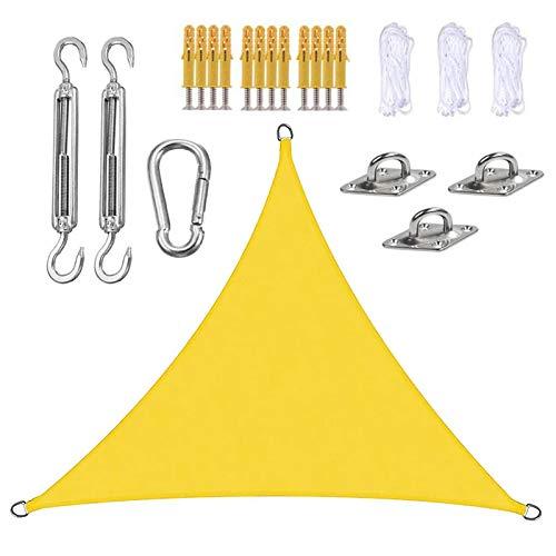 LRHRHR Toldo Vela De Sombra Triangular,Toldo Vela Impermeable Protección UV Exteriores Toldo Vela,con Kits De Montaje,para Patio Jardí-Fluorescent Yellow  3x3x3m