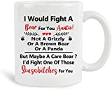 FATTEMD I Would Fight A Bear For You Auntie – Funny Birthday Christmas Mother's Day Valentine Thanksgiving Gifts for Aunt,Auntie