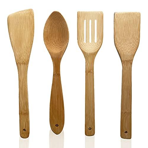 Juego utensilios de cocina de madera de bambú - 4 piezas accesorios de cocina de madera resistentes al calor y antiadherentes - cuchara,...