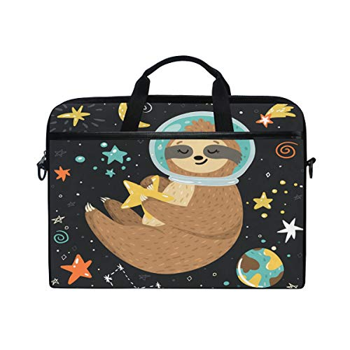 AGONA Galaxy Smiling Astronaut Cute Baby Sloth Laptop Shoulder Messenger Bag 15 inch Case Sleeve for 14 Inch Laptop Case Laptop BriefcaseCompatible Notebook Ultrabook Chromebookfor Boys