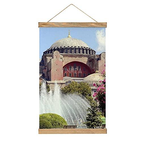 VinMea Póster colgante colorido de pared Catedrales de Hagia Sofía Paisajes de viaje Cielo enmarcado carteles de madera Kit para colgar para paredes, lienzo de 13 x 50 cm