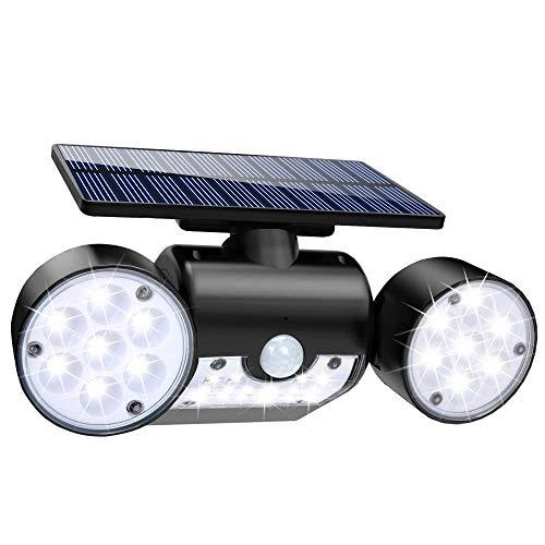 Solar Lights Outdoor, 30 LED Solar Security Lights with Motion Sensor Dual Head Spotlights IP65...