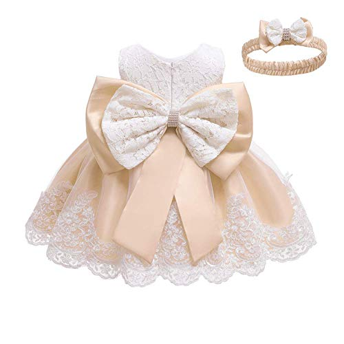 IWEMEK Vestido de encaje para bebé niña, con lazo, para dama de honor, de boda, con tutú, de princesa, para cumpleaños, fiesta, bautizo, Blanco + champán., 6-9 Meses