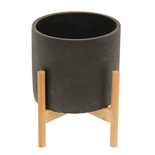 KGDC Macetas Interior y Exterior Negro Transpirable Maceta de Cemento + Soporte de bambú Interior...