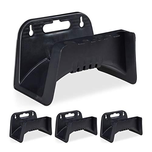 Relaxdays 4 x Schlauchhalter, Wandschlauchhalter aus Kunststoff, Aufhängung für Gartenschlauch, HBT 14 x 24 x 16 cm, schwarz