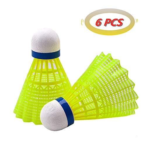 Senston 6 Stück Federbälle Nylon Badminton Federball, Badminton Bälle für Indoor & Outdoor