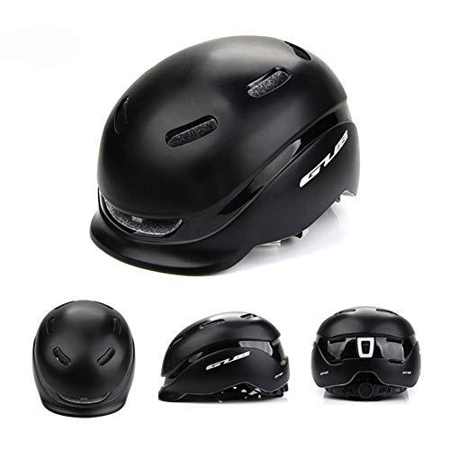 CBPE Fiets Helm - Oplaadbare USB Veiligheid Achterlicht Anti-Diefstal Ontwerp Afneembare/Verstelbare Retro Slanke Stedelijke Vrije Tijd Fietsen Helm voor Volwassen Mannen/Vrouwen, 22.83-24.04 Inch