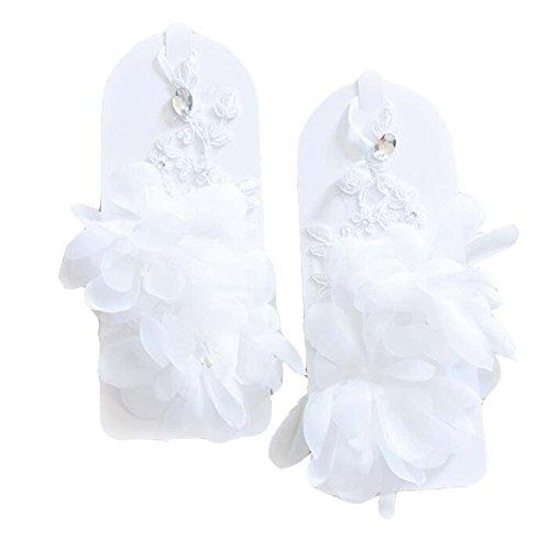 Gants sans doigts en dentelle de mariée pour les accessoires de mariées de mariage (blanc)