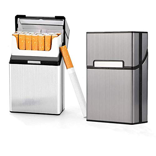 Cigarette Case Brushed Metal Cigarette Case with Magnetic Switch Flip Closure,20 Capacity (Silver+Grey 2 Pack)