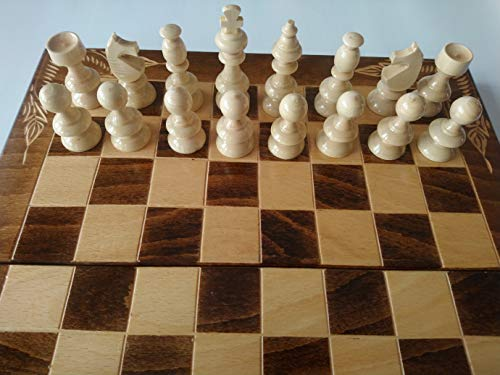 Hecho a mano Nuevo Marron 38x38cm de Tablero de ajedrez de Madera, Backgammon, Pieza de ajedrez de Avellana a Mano, Juego de ajedrez de Madera
