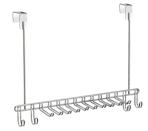 iDesign Colgador Cinturones y Corbatas para Puerta Classico, Metal, Plata, 9x37x29 cm