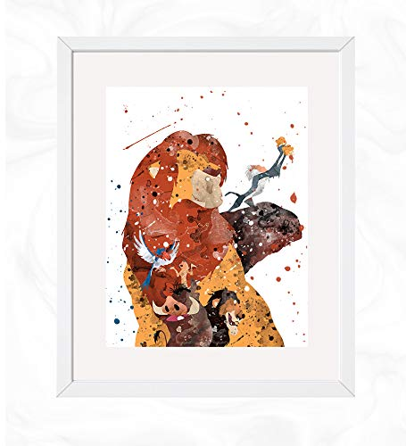 The Lion King Prints, The Lion King Disney Watercolor, Nursery Wall Poster, Holiday Gift, Kids and Children Artworks, Digital Illustration Art