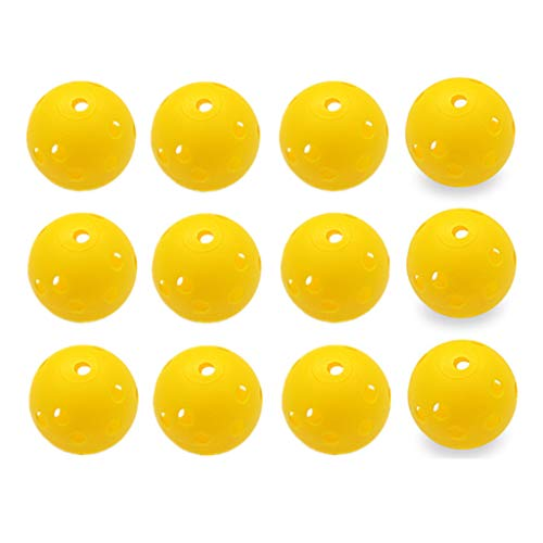ZXAZX 12 Pieces 42.5mm Plastic Golf Training Balls Hollow Hole Ball Suit for Outdoor Golf Striking Batting Hit Practice Ball