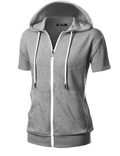 GIVON Womens Comfortable Short Sleeve Lightweight Zip-up Hoodie with Kanga Pocket/DCF207-GREY-L