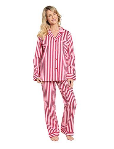 Noble Mount 100% Cotton Pajama Set for Women - Stripes Red White - Medium