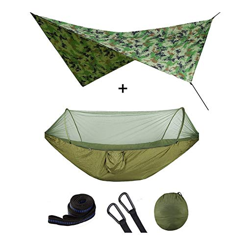 Outdoor Automatic Quick Open Mosquito Net Hammock Tent With Waterproof Canopy Awning Set Hammock Portable Pop-Up (Color : Army green camouflag)