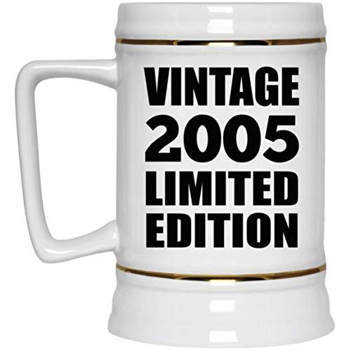 16th Birthday Vintage 2005 Limited Edition - Beer Stein Jarra de Cerveza, de Cerámica - Regalo para Cumpleaños, Aniversario, Día de Navidad o Día de Acción de Gracias