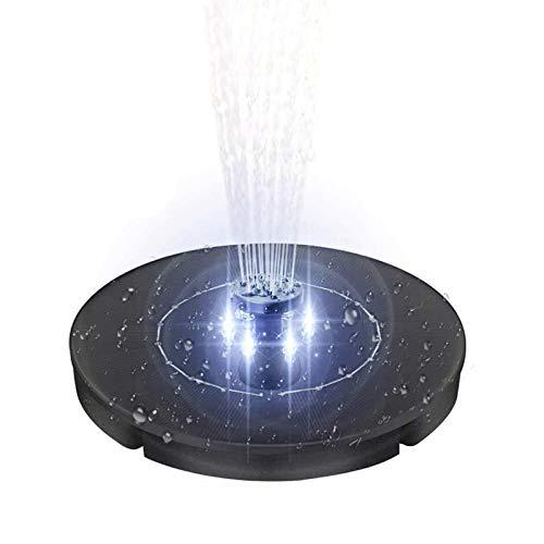 Solar Springbrunnen Pumpe Upgrade 2.4W LED Licht Solarbetriebene wasserdichte Teichpumpe für Vogelbad, Teich, Pool, Patio, Rasen und Gartendekoration (Round)