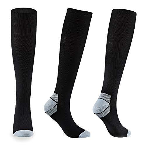 FALARY Kompressionsstrümpfe für Herren und Damen Kompressionssocken Stützstrümpfe Compression Socks Schwarz & Grau 39-42