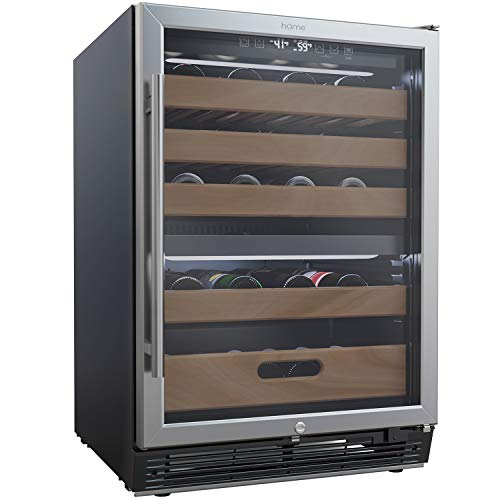 hOmeLabs 43 Bottles High-End Wine Cooler - Free Standing Dual-Zone Mini Fridge and Chiller for Wines with Temperature Control Panel, Stainless Steel Reversible Door Swing and Removable Wood Shelves