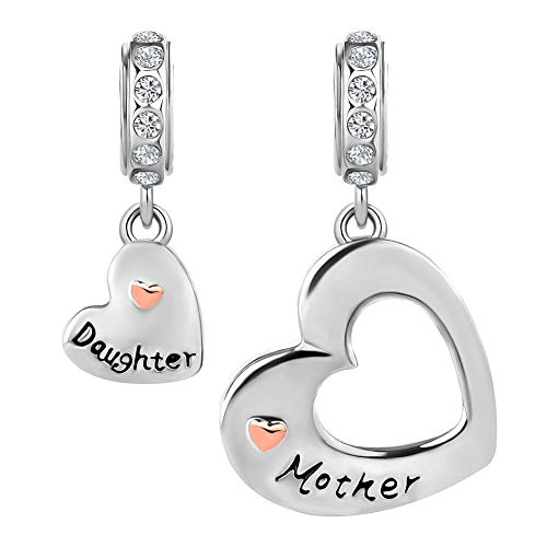 CharmSStory Mom Mother Daughter Heart Love Dangle Charm Beads for Snake Chain Bracelet (Heart Mother Daughter)