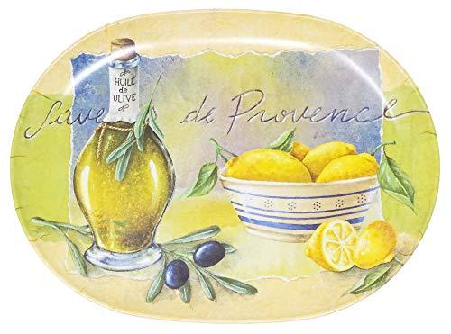Lashuma Plateau à thé ovale en mélamine jaune et vert 30 x 21 cm Plateau de service Design Provence