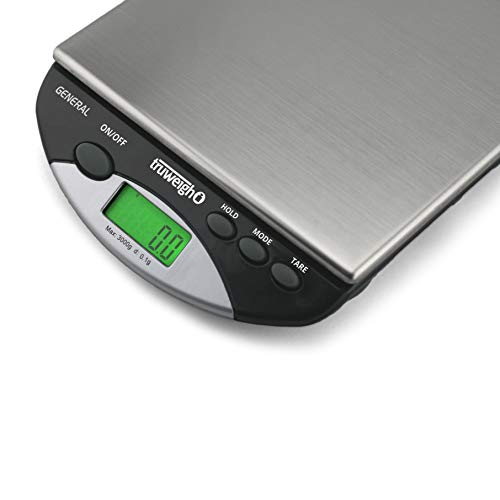 Truweigh General Compact Bench Scale - (3000g X 0.1g - Black) - Digital Kitchen Scale - Shipping Scale - Large Kitchen Scale - Digital Postal Scale - Large Food Scale - Professional Digital Scale