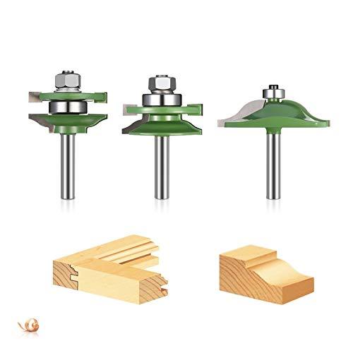 45 Grad Lock Miter Router Bit, 3tlg Nutfräser mit 8mm Schaft, T-Form Cutter für Graviermaschine Trimmmaschine Holzarbeiten